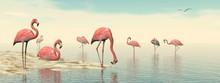 Flock Of Pink Flamingos - 3D Render