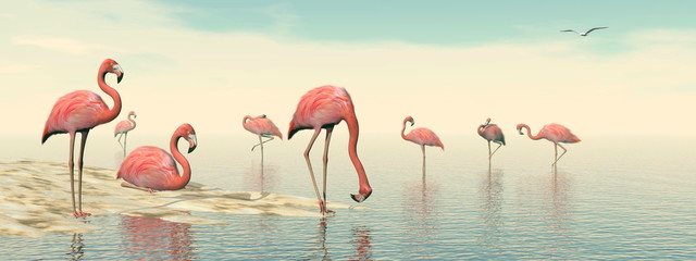 Obraz na Plexi Flock of pink flamingos - 3D render