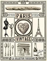 Fototapeta Poster Paris Vintage