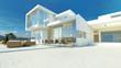 Leinwanddruck Bild - Modern angular luxury tropical villa