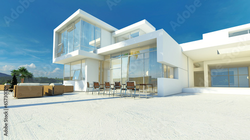 Fotografiet  Modern angular luxury tropical villa