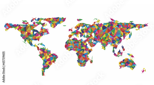 Spoed Foto op Canvas Wereldkaart Geometric colorful worldmap