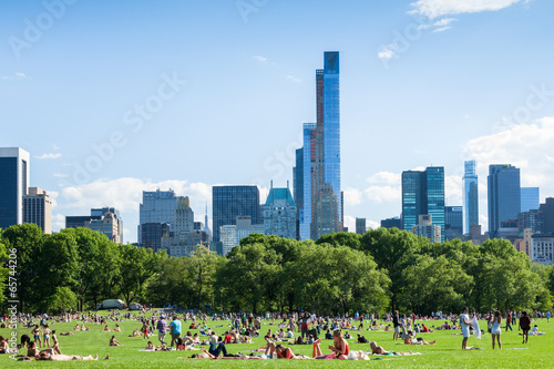 People resting in central park - New York - USA Canvas Print