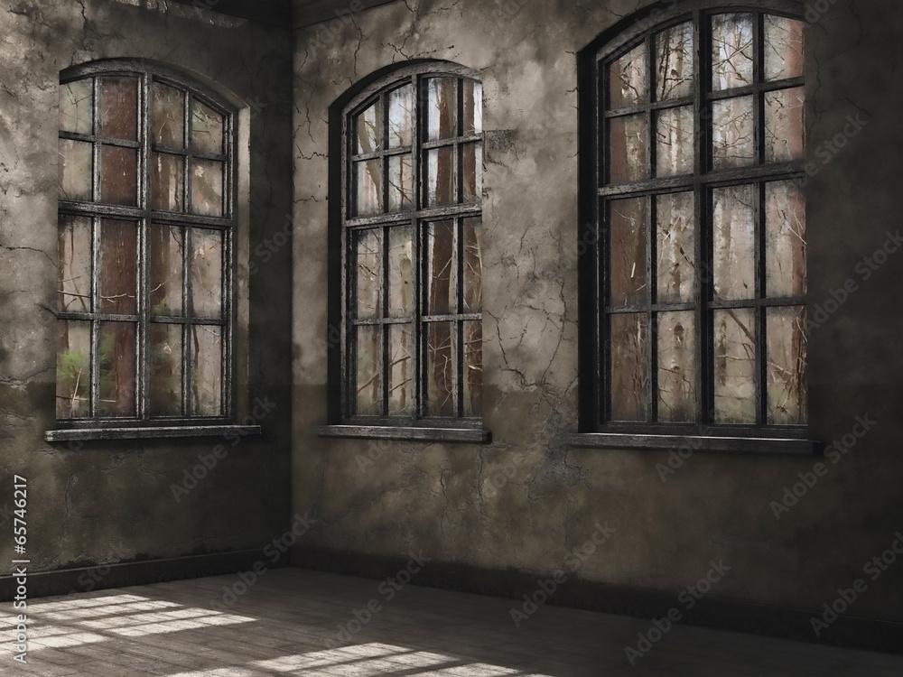 Fototapeta Pusty pokój z oknami na las - obraz na płótnie