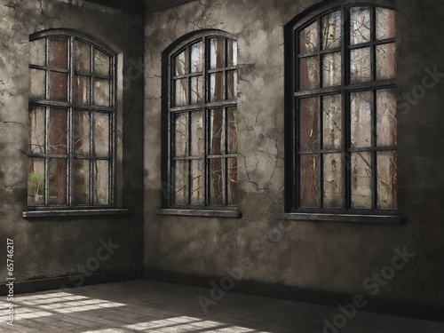 Obraz Pusty pokój z oknami na las - fototapety do salonu