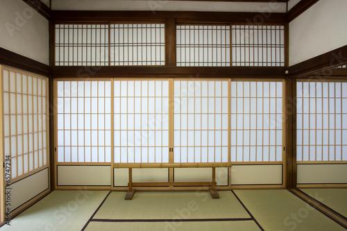 Foto op Plexiglas Bamboe washitsu room, Japanese style room with tatami mat, Kyoto Japan