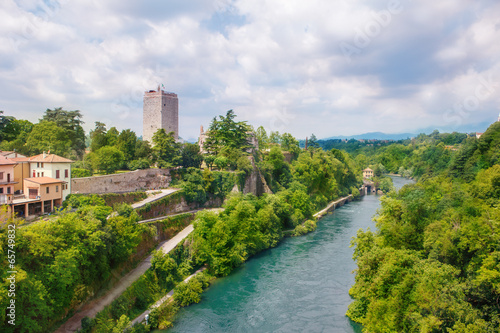 Visconti castle  and Adda river in Trezzo sull'Adda Canvas Print