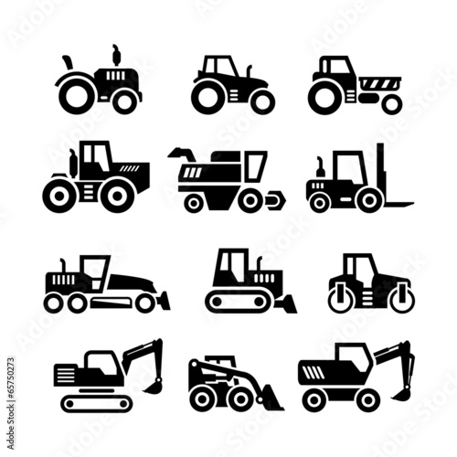 Set icons of tractors, farm and buildings machines Fototapete