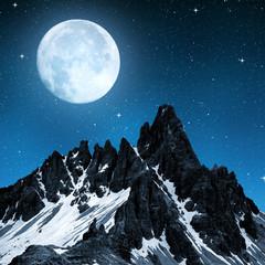 Paternkofel in night, Dolomite Alps,Italy