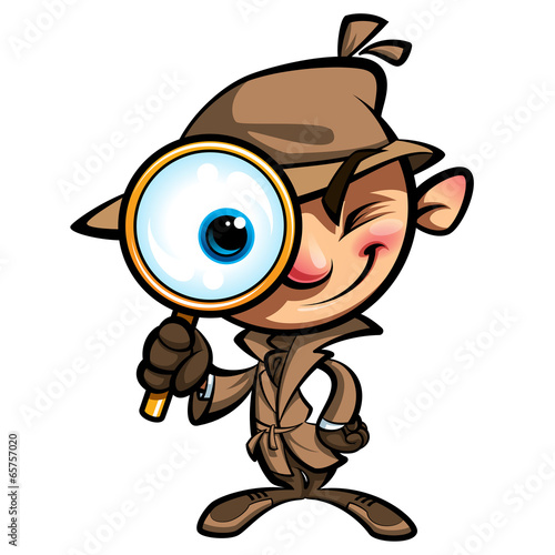 Fotografie, Tablou  Cartoon cute detective investigate with brown coat and eye glass