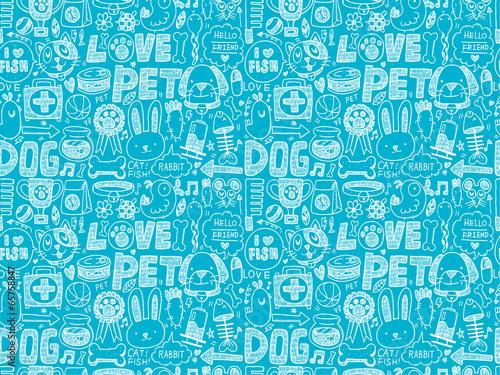 obraz PCV bez szwu doodle wzór zwierzę