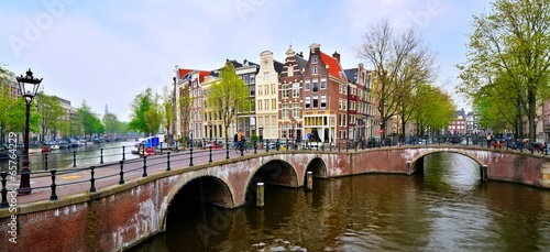 Deurstickers Amsterdam Panoramic image of the canals and bridges of Amsterdam