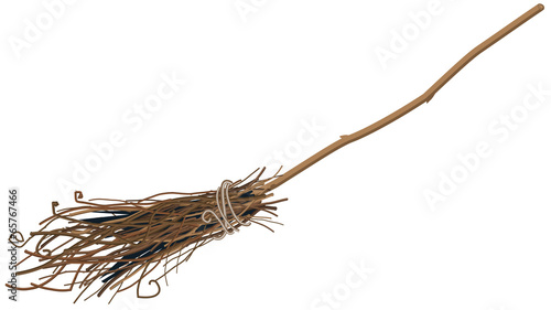 Old broom isolated. Illustration in vector forma Wallpaper Mural