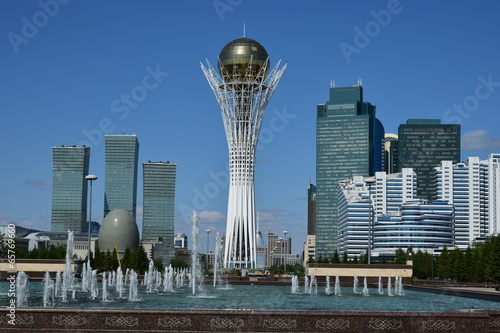 A city view in Astana / Kazakhstan - with the Baiterek Tower Wallpaper Mural