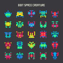 Set Of 8-bit Color Space Monst...