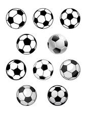 Set Of Soccer And Football Balls