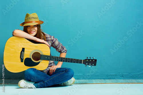 Obraz Teenager girl guitar play. - fototapety do salonu