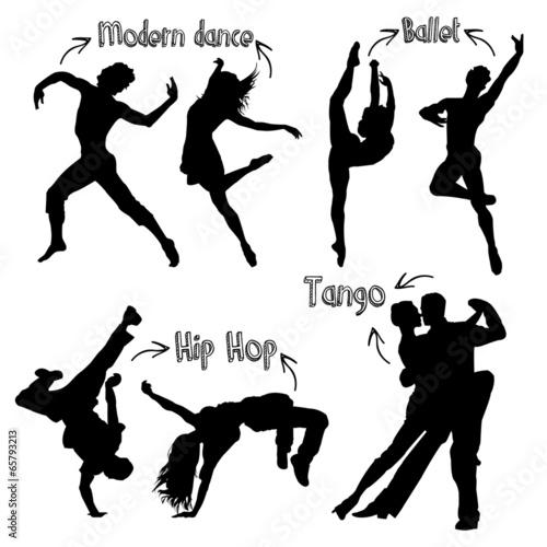Vector Dancer Silhouettes плакат
