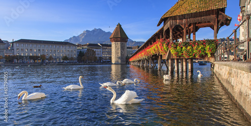 Fotografie, Obraz Lucerne, the Chapel Bridge in early morning