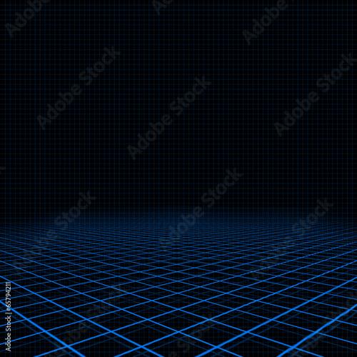 Fotografía  Neon blue platform and grid