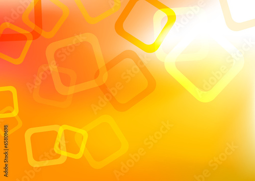 abstract yellow orange background with transparent hollow square