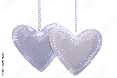 Two  hearts isolated on white