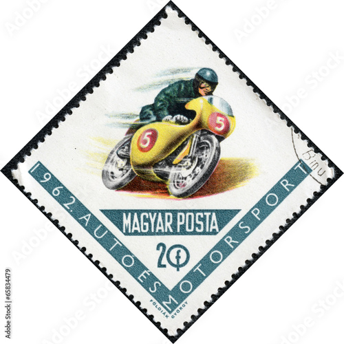 Photo  stamps printed in Hungary showing racing motorcycle