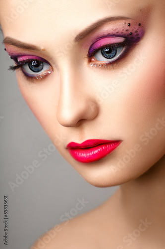 Fototapety, obrazy: fashion blonde model portrait professional makeup
