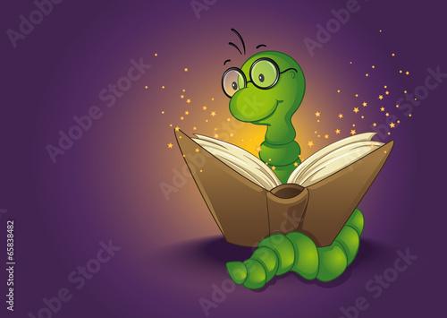 Photo  Bücherwurm und Zauberbuch