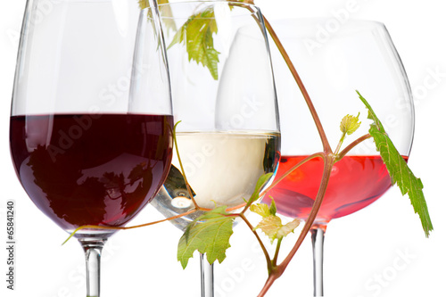 Three glasses of wine isolated on white. Closeup image