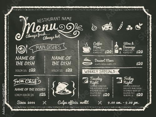 Fototapeta Restaurant Food Menu Design with Chalkboard Background obraz