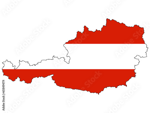 Fotografie, Obraz  Vector map with the flag inside - Austria.