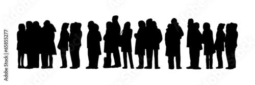 Fotografie, Obraz  long people queue silhouette set 1