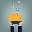 Piggy bank, vector illustration