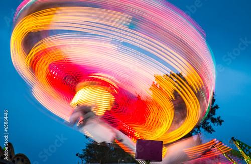 Amusement park in the evening