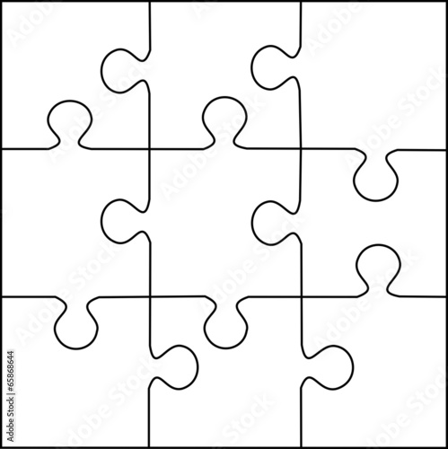 Puzzle Template 9 Pieces Vector