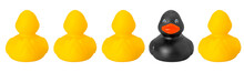 One Black And Four Yellow Toy Rubber Ducks