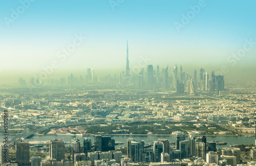 Photo  DUBAI, UNITED ARAB EMIRATES - February 14, 2014: Aerial view Burj Khalifa Lake a