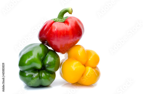 bell pepper or capsicum isolated on white Tablou Canvas