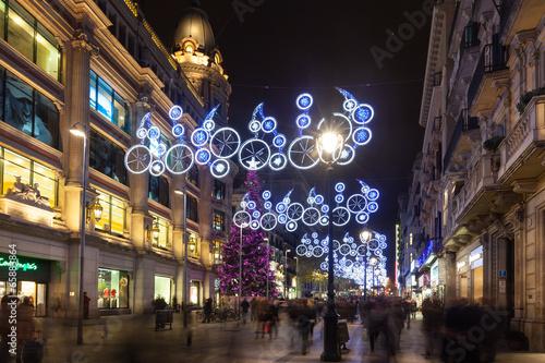 Zdjęcie XXL Noc widok Barcelona w zimie