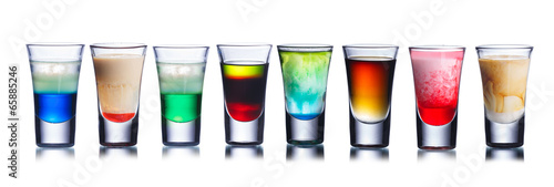 Aluminium Prints Bar Colorful shot drinks