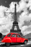 Fototapeta Wieża Eiffla - Eiffel Tower with red old car in Paris, France