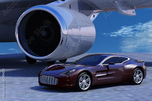 Photo  Sportwagen auf dem Vorfeld vor Flugzeugturbine