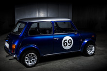 Iconic Blue Mini Cooper In A P...