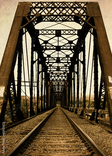 Fotografie, Tablou Railroad Trestle Bridge and RR Tracks from Old Vintage Retro Day