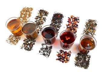 Panel Szklany Do herbaciarni Assortment of tea isolated on white