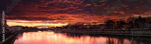 Poster Bordeaux Beautiful Red Sunset Near a Bridge