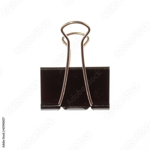 Fotografía  Black Paper clip isolated on white background.