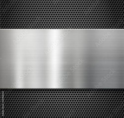 steel metal plate over comb grate background Wall mural