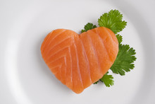 Heart Shaped Salmon On White P...